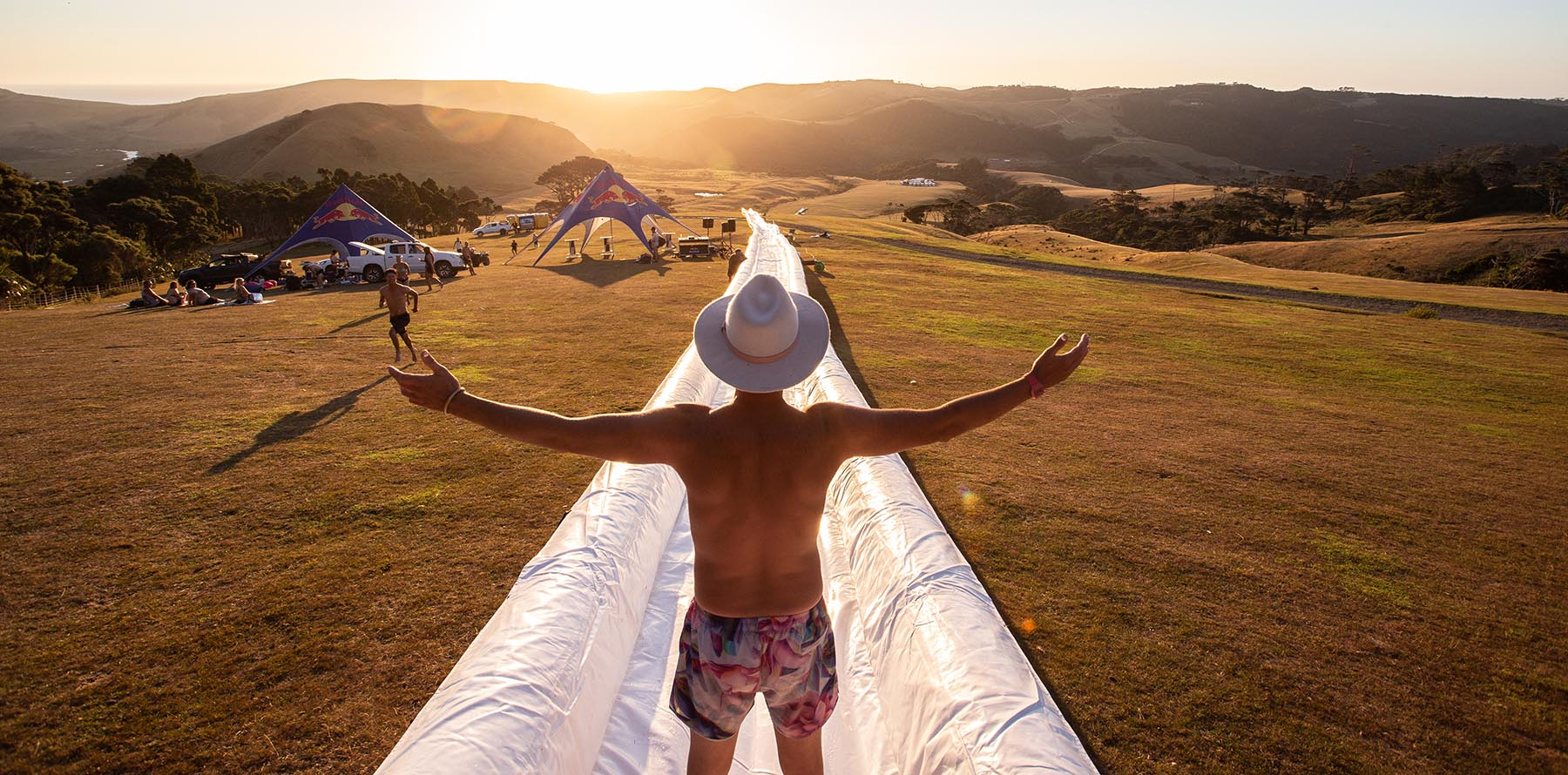 Jimi Hunt standing at the top of the World's Biggest Waterslide
